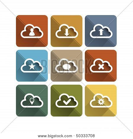 Flat long shadow cloud icons