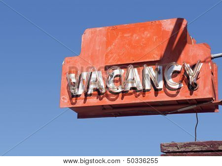 Retro roadside iconic VACANCY motel sign