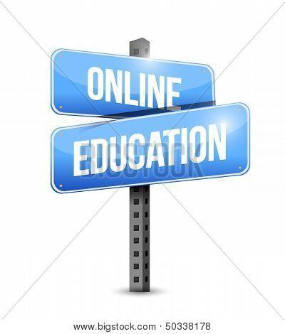 Online Education Road Sign Illustration Design