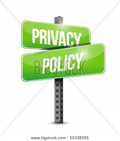 Privacy Policy Road Sign Illustration Design