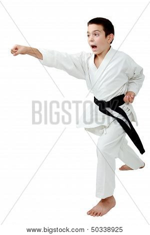 In rack of karate boy with a black belt beat a punch arm