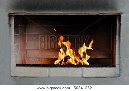 The Fire In The Fireplace Of Brick