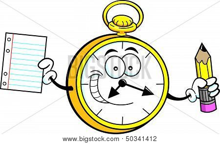 Cartoon watch holding a paper and pencil
