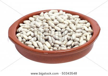 an earthenware bowl with dry white beans on a white background