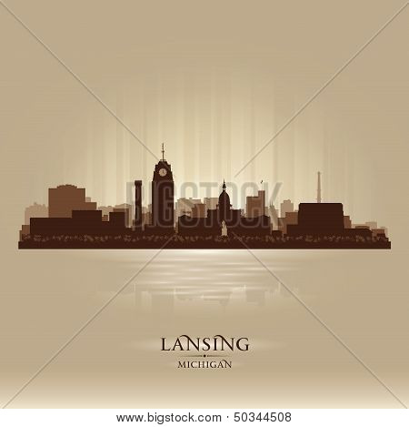 Lansing Michigan City Skyline Silhouette