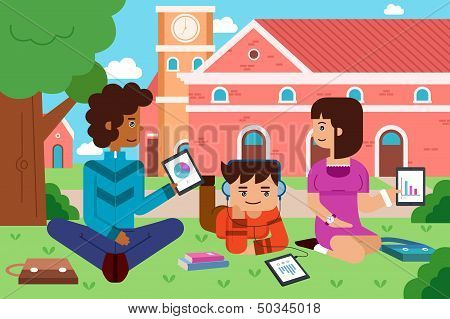 College Students In The Campus With Tablet Pc