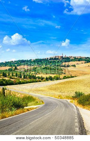 Tuscany, Road To Pienza Medieval Village. Siena, Val D Orcia, Italy
