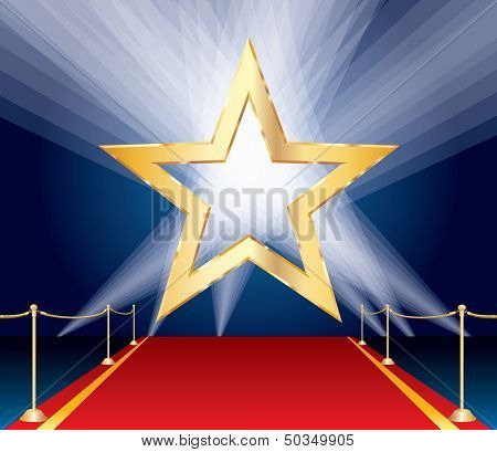 vector golden star over red carpet and spotlights