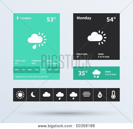 Weather Widget UI set of the flat design trend.