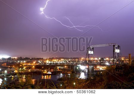 Electrical Storm Lightning Strikes Bolts Murray Morgan Bridge Washington