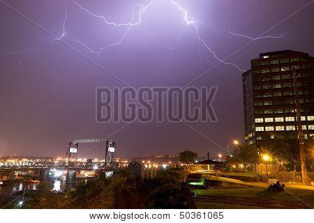 Electrical Storm Lightning Strikes Bolts Murray Morgan Bridge Washington