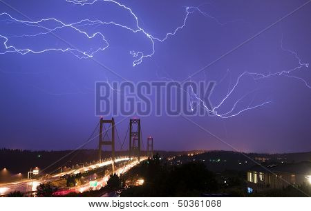 Electrical Storm Lightning Strikes Bolts Tacoma Narrows Bridge Washington