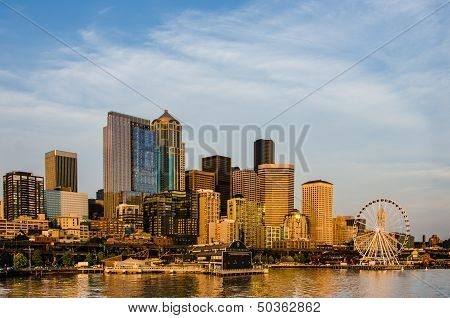 Seattle City Skyline at Sunset