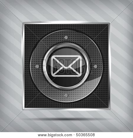 email button icon on the metallic background