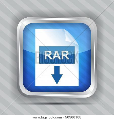blue rar download icon on a striped background