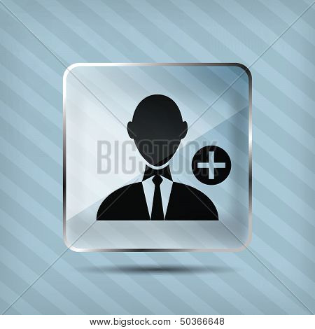glass add businessman icon on a striped background