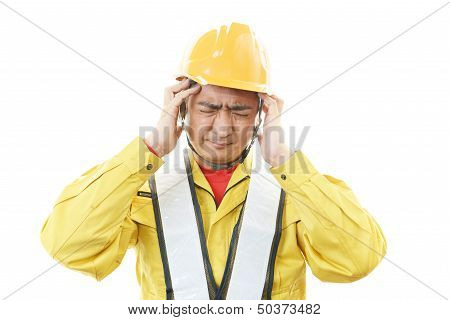 Tired and stressed Asian worker