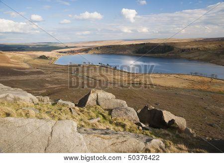 eroded boulders on yorkshire moorland