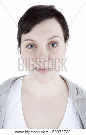 Ordinary girl in sweatshirt on white background