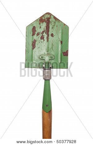 Old Army Shovel On White Background