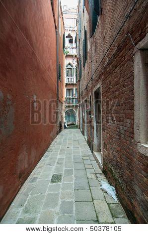 Small Colourful Venetian Street In A Popular Neighbourhood