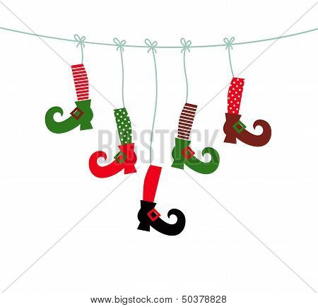 Santa Legs Symbols Hanging Isolated On White