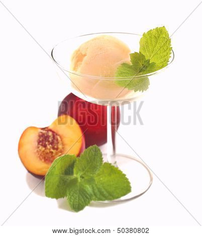 Peach Ice Cream In Bowl Isolated On White Background