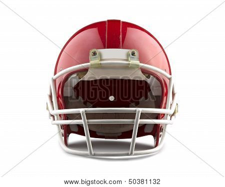 Red American Football Helmet Isolated On A White Background With Detailed Clipping Path.