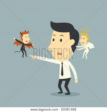 Devil And Angel With Businessman