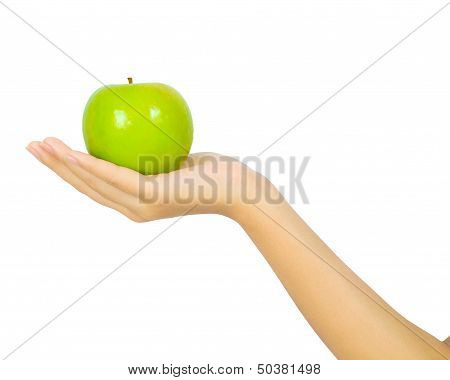 Female Hand With A Green Apple On White