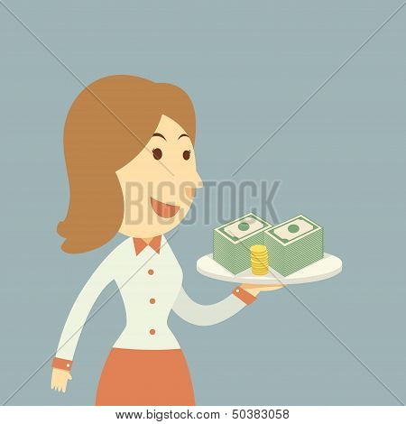 Waiter Holding Money
