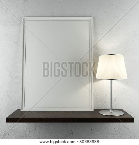 shelf with frame and lamp