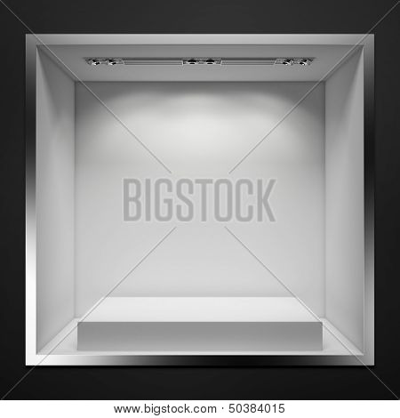 empty showcase with white stand