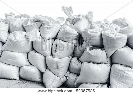 Wall Made Of White Bags