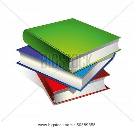 A stack of colored books
