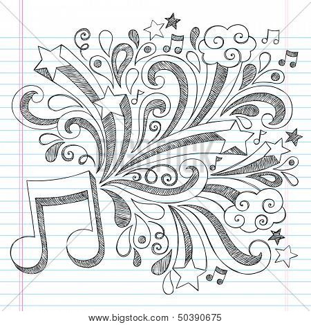 Music Note Back to School Sketchy Notebook Doodles with Music Notes and Swirls- Hand-Drawn Illustration Design Elements on Lined Sketchbook Paper Background