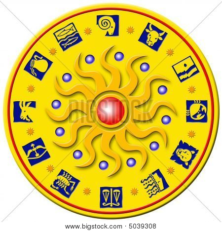 Round Golden Badge With Signs Of The Zodiac