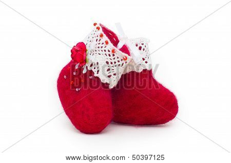 Red felt boots