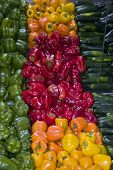 stock photo of department store  - a pepper display at a grocery store - JPG