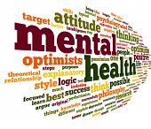 stock photo of text cloud  - Mental health concept in word tag cloud on white - JPG
