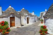 stock photo of roof tile  - Unique Trulli houses with conical roofs in Alberobello - JPG