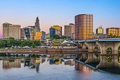 stock photo of northeast  - Skyline of downtown Hartford - JPG