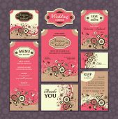 stock photo of marriage decoration  - Set of wedding cards - JPG