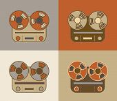 pic of magnetic tape  - Retro vintage grunge reel to reel tape recorder icon - JPG