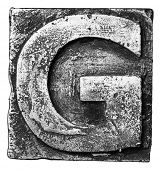 pic of alloy  - Metal alloy alphabet letter G - JPG