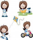 Cute playful cartoon girl riding a bike, reading a book and flying kite.