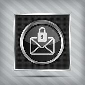 email with padlock button icon on the metallic background