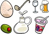 picture of milk-pint  - Cartoon Illustration of Food and Drink Objects Clip Art Set - JPG