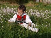 stock photo of milkmaid  - small female child sitting in flower field - JPG