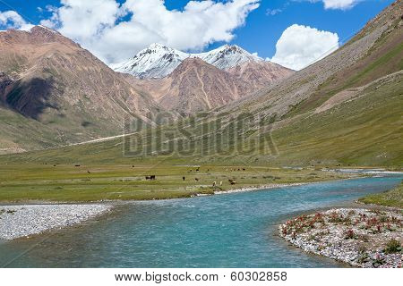 Majestic turquoise river in Tien Shan mountains